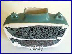 Vtg Rare MID Century Modernist Scandinavian Art Pottery Double Fish Ceramic Vase