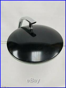 Vtg Rare Mid Century Chrome Black Desk Table Lamp Flying Saucers Atomic UFO 1960