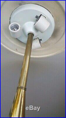 Vtg Rare Mid Century Modern Retro Footed Table Lamps Brass Body Original Shades
