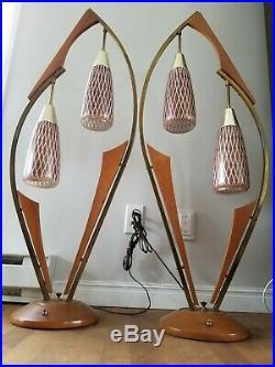 Vtg Rare Pair Modeline Style Bentwood Danish Mid Century Modern MCM Table Lamp