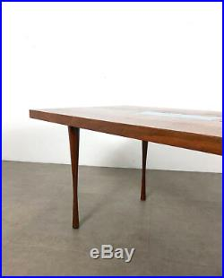 Vtg Walnut Enamel Inlaid Rectangular Coffee Table Rare Mid Century Danish Modern