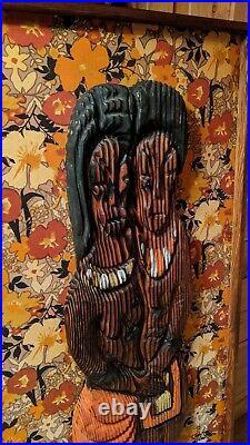 Witco Hawaiian Mid Century Tiki Modern Lounge Wall Art Sculpture Rare Back Print