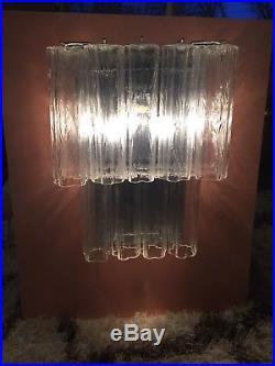 XL Mid Century Modern Venini Tronchi Murano Glass Wall Sconce RARE chandelier